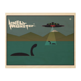 Lonely Monsters and UFO Wood Wall Decor