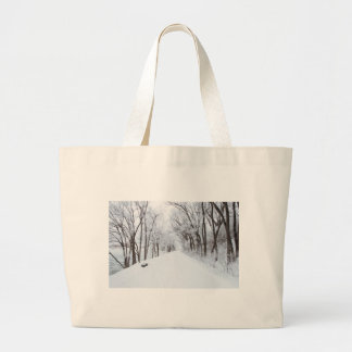 Lonely Snowy Road Jumbo Tote Bag
