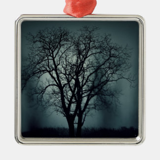 Lonely Tree at Night Silver-Colored Square Decoration