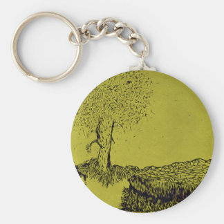 Lonely Tree Basic Round Button Key Ring