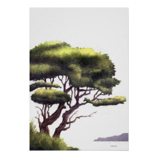 lonely tree Watercolor Print