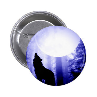Lonely Wolf Howling at Moon 6 Cm Round Badge