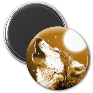 Lonely Wolf Howling at Moon 6 Cm Round Magnet