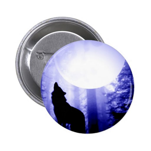 Lonely Wolf Howling at Moon Pin