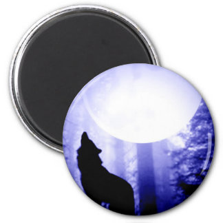 Lonely Wolf Howling at Moon Magnet