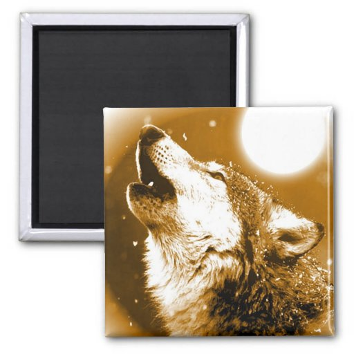 Lonely Wolf Howling at Moon Refrigerator Magnets
