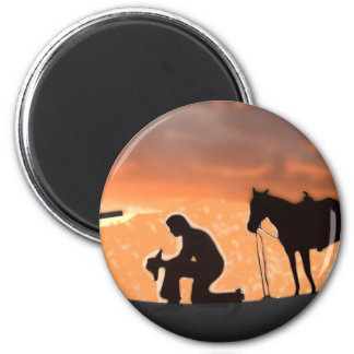 Lonesome Cowboy 6 Cm Round Magnet