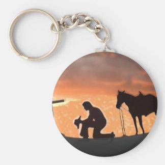 Lonesome Cowboy Basic Round Button Key Ring