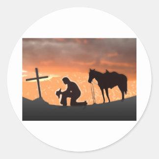 Lonesome Cowboy Round Sticker