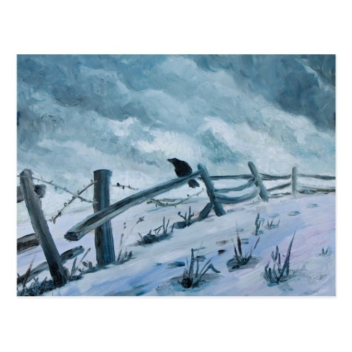 """""""Lonesome crow in a storm"""" by Hilary J. England Postcard"""