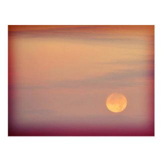 Lonesome - full moon in an orange sky postcard