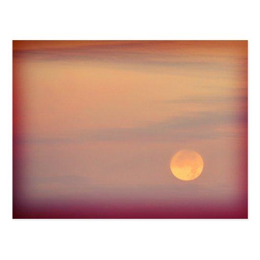 Lonesome - full moon in an orange sky postcards