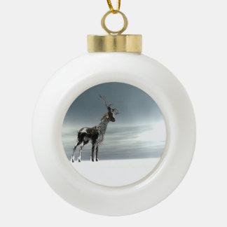 lonesome reindeer ceramic ball christmas ornament