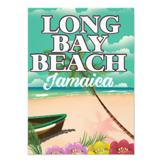 Long bay beach Jamaica travel poster