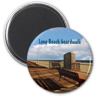 Long Beach boardwalk 6 Cm Round Magnet