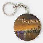 Long Beach California At Night Basic Round Button Key Ring
