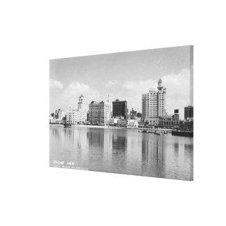 Long Beach, California City Skyline View Canvas Print