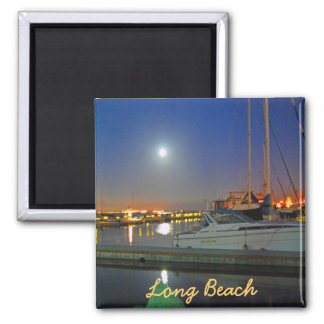 Long Beach Harbor At Night Square Magnet