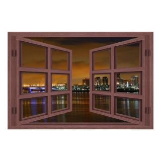 Long Beach Skyline At Night Open Window Poster