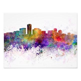 Long Beach skyline in watercolor background Art Photo