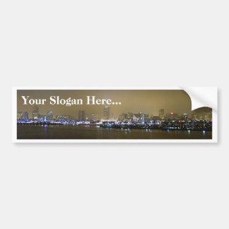 Long Beach Skyline Night City Bumper Sticker