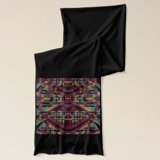 Long black designer abstract jersey scarf