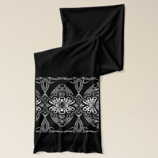 Long black white tribal designer jersey scarf