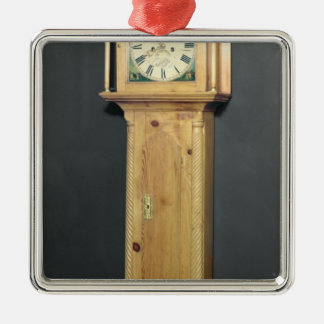 Long-case clock, with enamel painting Silver-Colored square decoration
