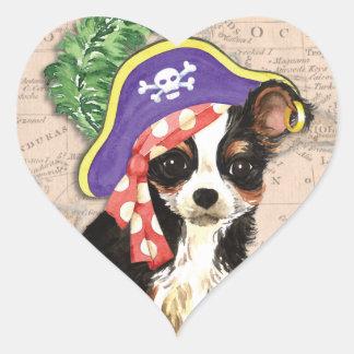 Long Coat Chihuahua Pirate Heart Sticker