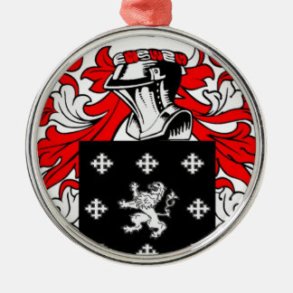 Long Coat of Arms Silver-Colored Round Decoration