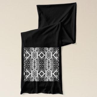 Long dared grey black white tribal jersey scarf