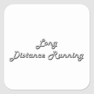 Long Distance Running Classic Retro Design Square Sticker