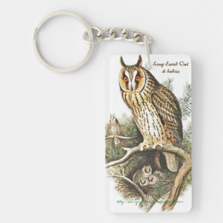 """""""Long Eared & Great Horned Owls"""" Double-Sided Rectangular Acrylic Key Ring"""
