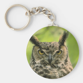 Long Eared Owl Basic Round Button Key Ring