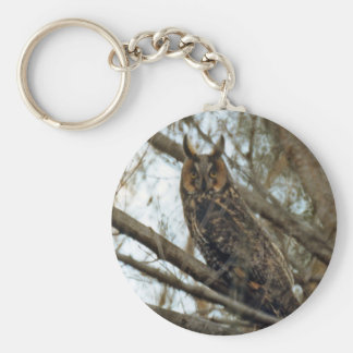 Long Eared Owl Photo Basic Round Button Key Ring