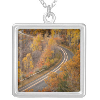 Long exposure of car driving on road through silver plated necklace
