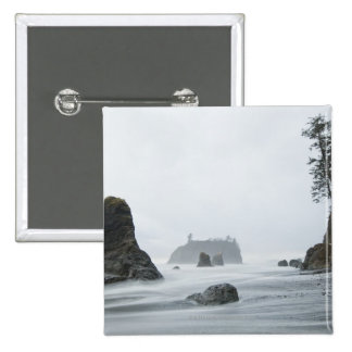 Long exposure of wave motion at Ruby Beach, 15 Cm Square Badge