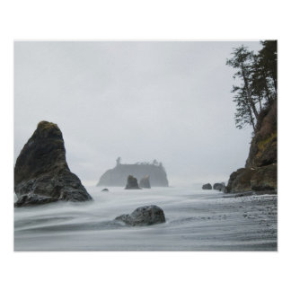 Long exposure of wave motion at Ruby Beach, Poster