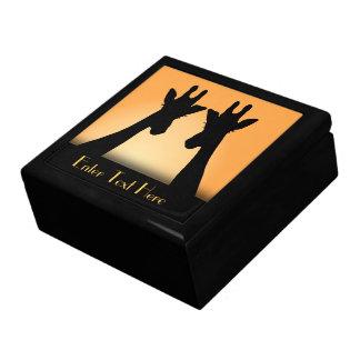 Long Eyelashes Giraffe Custom Text Large Square Gift Box