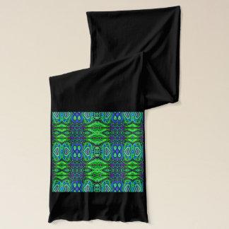 Long green jersey tribal designer scarf