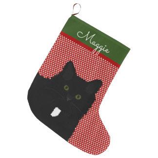 Long Hair Black Cat Personalized Large Christmas Stocking