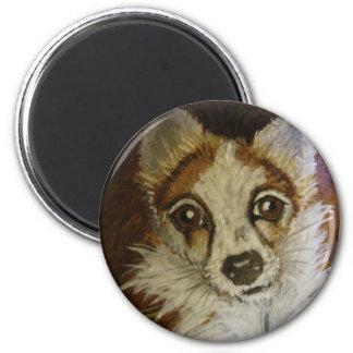 Long hair Chihuahua 6 Cm Round Magnet