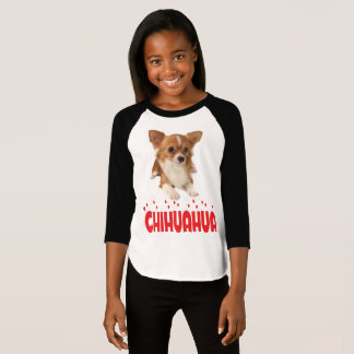 Long Hair Chihuahua Puppy Dog Girls T-Shirt
