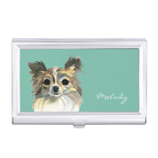 Long Hair Chihuahua Watercolor Portrait Business Card Holder