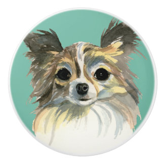 Long Hair Chihuahua Watercolor Portrait Ceramic Knob