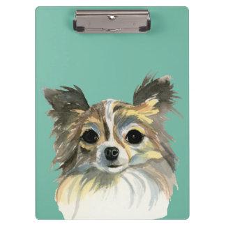 Long Hair Chihuahua Watercolor Portrait Clipboard
