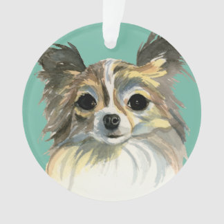 Long Hair Chihuahua Watercolor Portrait Ornament