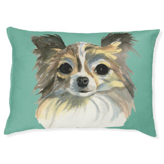 Long Hair Chihuahua Watercolor Portrait Pet Bed