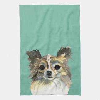 Long Hair Chihuahua Watercolor Portrait Tea Towel