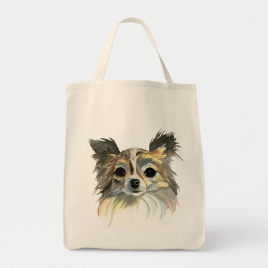 Long Hair Chihuahua Watercolor Portrait Tote Bag